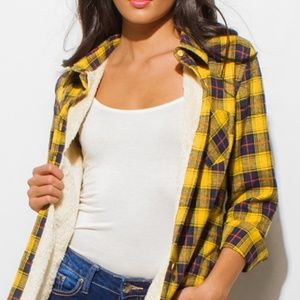 Checker plaid fleece lined button up flannel top